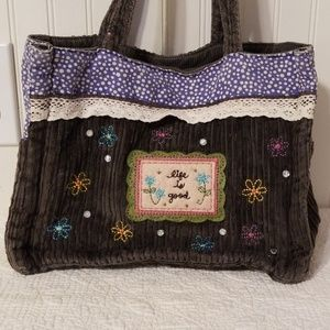 Life is good felt embroidered bling soft purse